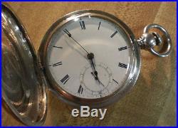 Early 1864 Waltham Wm Ellery Civil War Solid Silver Hunter Pocket Watch Runs