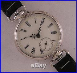 Early'1900 D+C Antique Swiss SOLID SILVER GOLIATH Wrist Watch Perfect Serviced