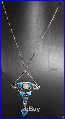 Edwardian Art Nouveau Solid Silver & Enamelled Pendant and Chain, 1909/10