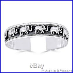 Elephant Charm Open Cuff Adjustable Bangle Bracelet in Solid 925 Sterling Silver