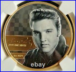 Elvis Presley 2018 Solid Silver/Gold Medallion, 1 Troy ounce. 9999 Fine Silver