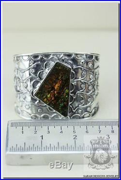 Enchanting! Ammolite Vintage Style Filigree Setting 925 Solid Silver Bangle Cuff