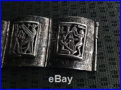 Estate Vintage Antique Victorian Solid Silver Egyptian Wide Panel Bracelet