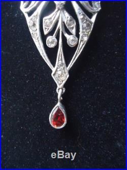 Exquisite Rare Antique Solid Silver 800 Rococo Lavalier Pendant Paste Necklace