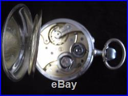Extra Large Pocket Watch DOXA Solid Silver 800 Antique Open Face 15J Swiss