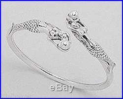 FEMININE 19g Solid Sterling Silver 20mm Mermaid Bangle Bracelet
