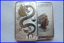 FIVE Lucky Dragon 1 ounce silver bullion coin bars solid 9999 silver 5 bars