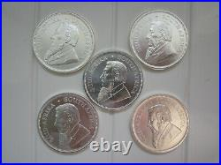 FIVE Solid Silver 1oz Krugerrand Silver Coins Rounds 2019 FREEPOST