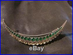 Fab Edwardian French Solid Silver & Emerald & Diamond Paste Crescent Brooch, 950
