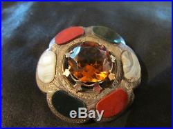 Fab Victorian Large Solid Silver, Citrine & Multi Agate Brooch, 1880s