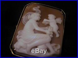 Fabulous Antique RARE Solid Silver, Cherub & Scenic Cameo Brooch