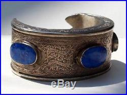Fabulous Vintage Turkish / Turkmen Solid Silver & Lapis Lazuli Cuff Bangle
