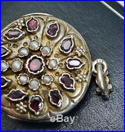 Fine AUSTRO HUNGARIAN Solid Silver DOUBLE SIDED Turquoise, Pearl & Garnet LOCKET