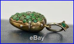 Fine Antique SOLID SILVER GILT, Persian Turquoise & White Paste HEART LOCKET