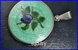Fine Antique SOLID SILVER Mint Green Guilloche Enamel PLUMS & Ivy Leaves LOCKET