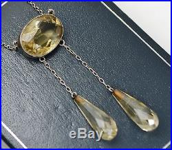 Fine Antique SOLID SILVER & Natural CITRINE Negligee Necklace with Faceted Drops