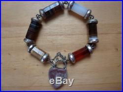 Fine Antique Solid Silver Scottish Agate Bracelet