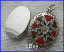 Fine Antique VICTORIAN Scottish AGATE Bloodstone & Jasper Solid SILVER Locket NR