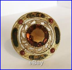 Fine Antique Victorian Solid Silver & Gold Gilded Scottish Agate Scarf Brooch