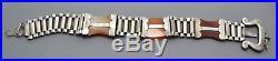 Fine Victorian SOLID SILVER & Orange Agate BELT Adjustable Unusual BRACELET