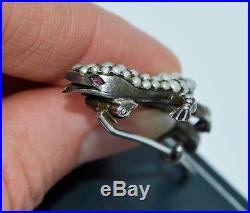 Fine Victorian SOLID SILVER & Seed Pearl LIZARD Brooch with Ruby Eyes Quality