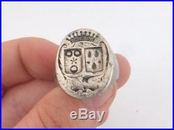Fine heavy antique armorial seal solid silver ring