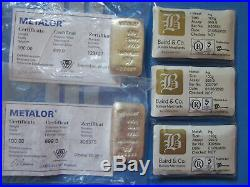 Five x 100g Solid Silver 999 Bars Baird and Metalor + Certs
