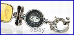 Flli Menegatti Solid 925 Sterling Silver and 18K Gold Venetian Glass Bracelet