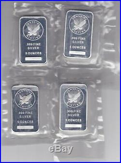 Four Five Ounce Solid Silver Bars Sunshine Mining