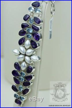 Freshwater Pearl Aquamarine Amethyst 925 Solid Silver Bracelet