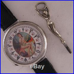 Fully Serviced ORIGINAL 1870 French Erotic Oriental Solid SILVER Wrist Watch