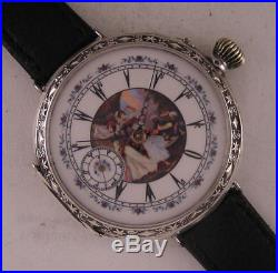 Fully Serviced ORIGINAL 1890 French Erotic Oriental Solid SILVER Wrist Watch