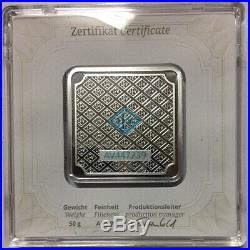 GEIGER Edelmetalle 50 Gram Square Silver Bar. 999 Fine w Sealed Assay Case Rare