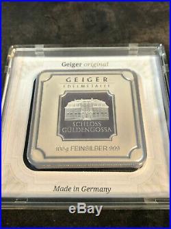 1 gram Geiger original square .999 fine silver bar in capsule