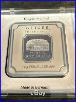 Geiger 100 Gram 999 Silver Silver Bullion Square in Capsule Gueldengossa