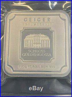 Geiger 250 Gram 999 Silver Silver Bullion Square in Capsule Gueldengossa