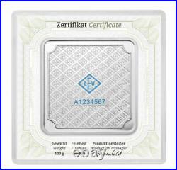 Geiger Edelmetalle 100 g Original square. 999 fine silver bar in assay