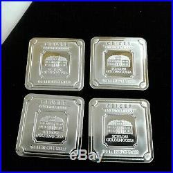 Geiger Edelmetalle 1.0 Oz. 999 Fine Silver Square Bars LOT of 4
