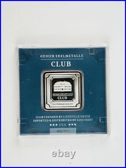 Geiger Edelmetalle Club 1 oz Silver Square Bar RARE CUSTOM MADE only 1600 Minted