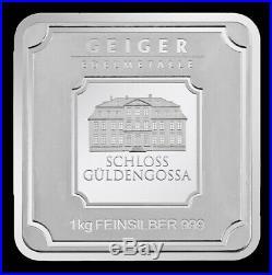 Geiger Edelmetalle Original Square 1 Kilo 1000 Gram 32.15 oz 999 Fine Silver Bar