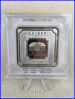 Geiger Edelmetalle Original Square Series Sealed 100 Gram Silver Bar #AV564420