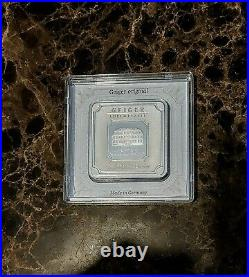 Geiger Original 100g Silver Square Made In Germany Zertifkat Certificate 999