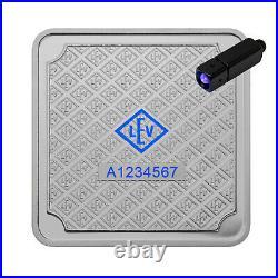 Geiger Original square 100 grams. 999 fine silver bar in assay