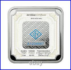 Geiger Original square 10 OZ. 999 fine silver bar