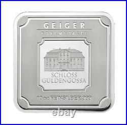 Geiger Original square 10 OZ. 999 fine silver bar in assay