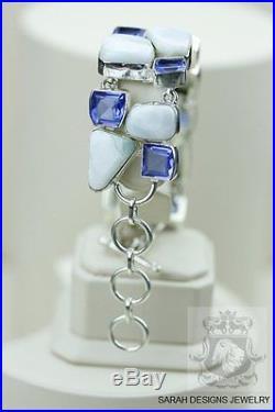 Genuine Caribbean LARIMAR Irrdiated LONDON Blue Topaz 925 SOLID SILVER BRACELET