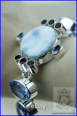Genuine Caribbean Larimar Blue Topaz Garnet 925 Solid Silver Bracelet