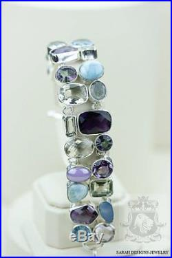 Genuine Larimar Lavender Amethyst Topaz Prasiolite 925 Solid Silver Bracelet