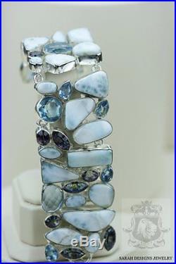 Genuine Ocean Blue Caribbean Larimar Aquamarine 925 Solid Silver Bracelet