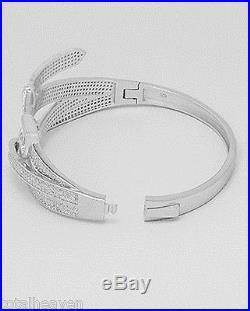 Glittering Belt 24.61g Solid Sterling Silver Cuff Bangle Bracelet 55x50x28mm